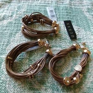 Set of 3 Guess bracelets brown gold